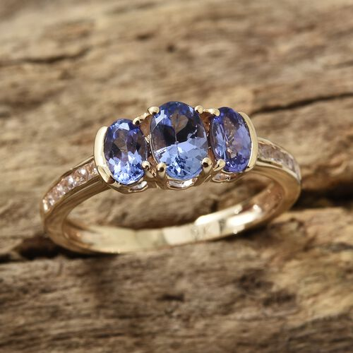 9K Yellow Gold Tanzanite (Ovl), Natural Cambodian Zircon Ring 1.000  Ct.