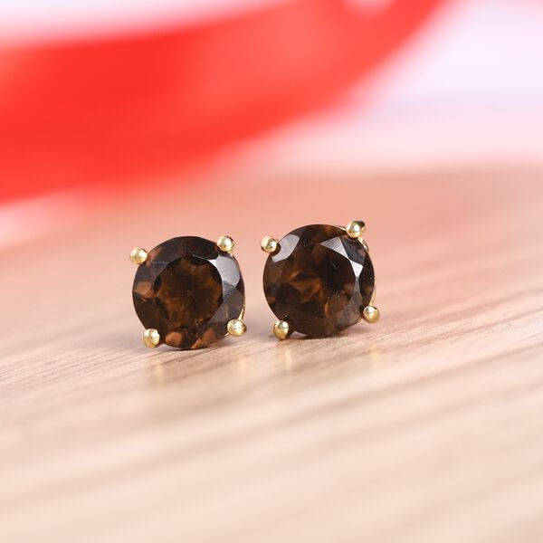 MP - AA Brazilian Smoky Quartz (Rnd) Stud Earrings (with Push Back) in 14K Gold Overlay Sterling Silver 2.60 Ct.