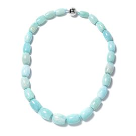 Russian Amazonite Barrel Necklace (Size 20) with Magnetic Lock in Rhodium Overlay Sterling Silver 61