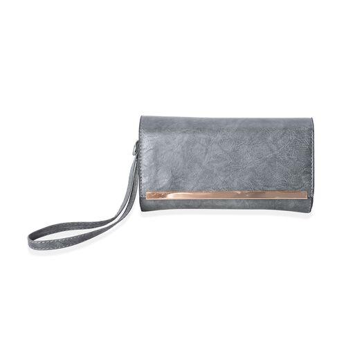 Set of 2- Dark Grey Colour Satchel Bag (Size 32x25x14 Cm) and Wristlet Bag (Size 21x11x4.5 Cm) with Removable Shoulder Strap and External Zipper.