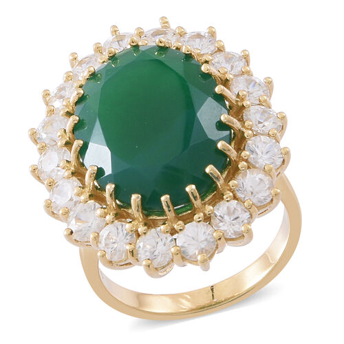 Verde Onyx (Ovl 14.00 Ct), Natural White Cambodian Zircon Ring in 14K Gold Overlay Sterling Silver 1