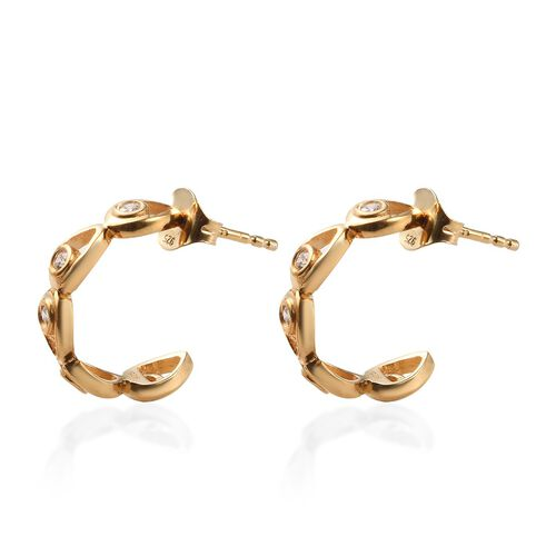 J Francis - 14K Gold Overlay Sterling Silver (Rnd) J-Hoop Earrings (with Push Back) Made with SWAROVSKI ZIRCONIA