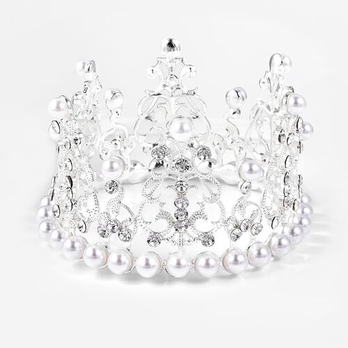 White Austrian Crystal and Simulated Pearl Crown in Silver Tone
