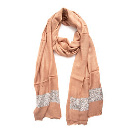Rose with Silver Colour Scarf with Embroidery (Size 180x70 Cm)