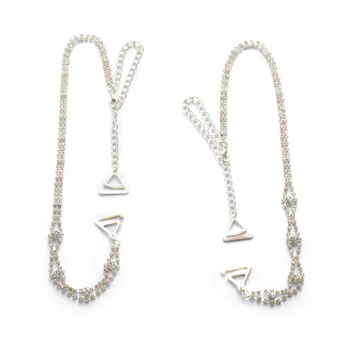 White Austrian Crystal Support Strap in Silver Tone