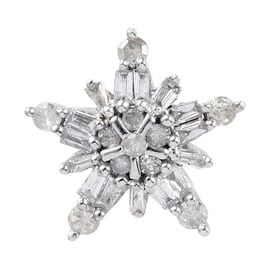 0.25 Ct Diamond Snowflake Pendant in 9K White Gold SGL Certified I2 I3 GH