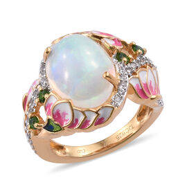 GP 3.75 Ct Ethiopian Opal and Russian Diopside with Multi Gemstones Solitaire Design Ring in Sterlin