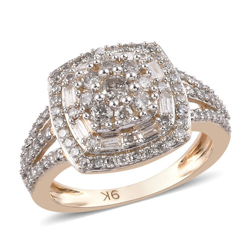 9K Yellow Gold SGL Certified Diamond (G-H/I3) Cluster Ring 1.000  Ct.