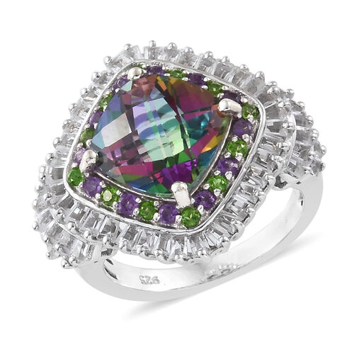 Mystic Green Topaz and Multi Gemstone Halo Ring in Platinum Plated Silver 5.70 Grams, 6.25 Ct