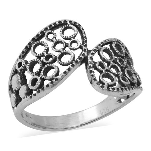 Filigree Design Bypass Ring in Sterling Silver 2.55 Grams