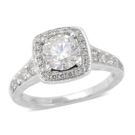 1.50 Ct Diamond Halo Ring in 14K White Gold 4.30 Grams I1 I2 GH