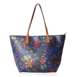 Designer Inspired-Blue, Red and Multi Colour Floral Pattern Tote Bag (Size 47x30x29x9.5 Cm)