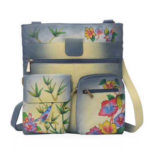 Sukriti - 100% Genuine Leather Grey and Multi Colour Chirpy Bird Handpainted Cross Body Bag with Mul