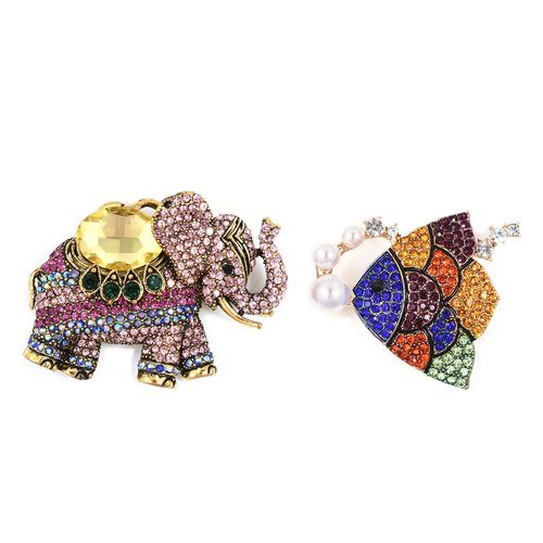 Set of 2 - Simulated Citrine (Ovl), Multi Color Austrian Crystal, Simulated Pearl Elephant Brooch Pendant and Fish Brooch in Gold Tone