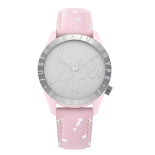 Hype Ladies Watch with Silver Bezel, Satin Silver Dial and Pink Strap with Silver Paint Splatter