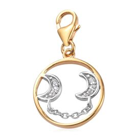 Natural Cambodian Zircon Crescent Moon Charm in Platinum and Yellow Gold Overlay Sterling Silver