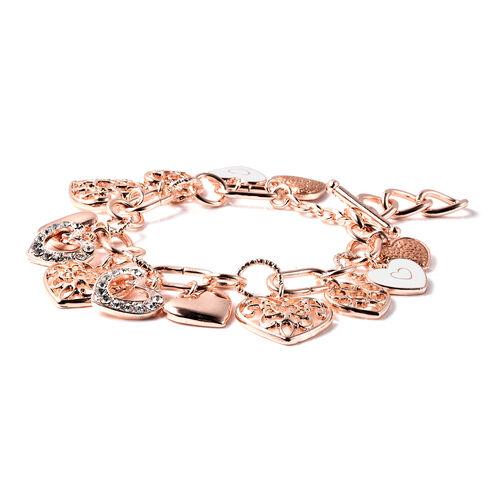 2 Piece Set - White Austrian Crystal Enamelled Heart Charm Bracelet (Size 9) and Hook Earrings in Rose Gold Tone