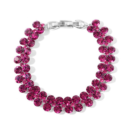 Rose Colour Austrian Crystal (Rnd) Bracelet (Size 7.5) in Silver Plated