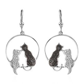 Black Diamond (Rnd) Twin Cat Lever Back Earrings in Platinum Overlay Sterling Silver, Silver wt 5.08