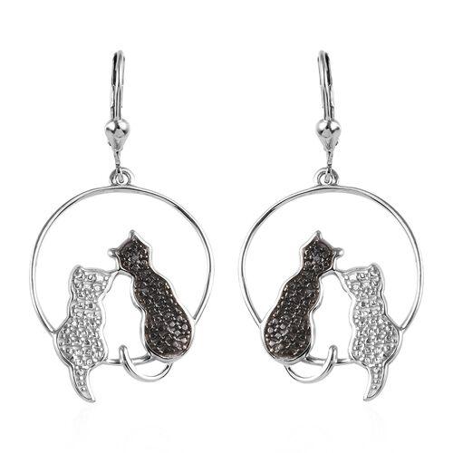 Black Diamond Twin Cat Earrings in Platinum Plated Sterling Silver 5.08 Grams