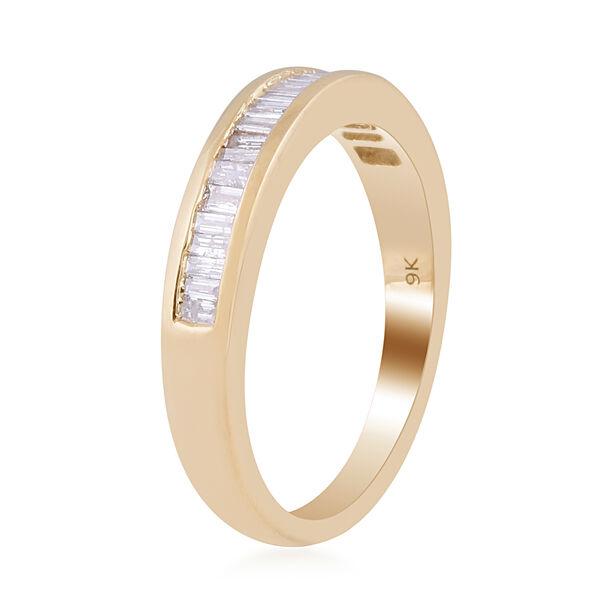 9K Yellow Gold SGL Certified  (I2-I3/G-H) Diamond Half Eternity Ring 0.50 Ct.