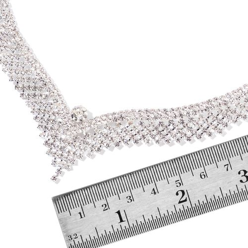 (Option 1) AAA White Austrian Crystal V Shaped Necklace (Size 22) and Earrings (with Push Back) in Silver Tone
