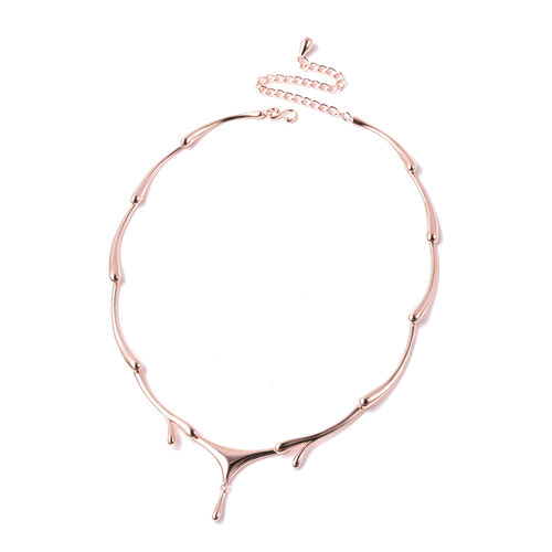LucyQ Drip Necklace (Size 16 with 4 inch Extender) in Rose Gold Overlay Sterling Silver