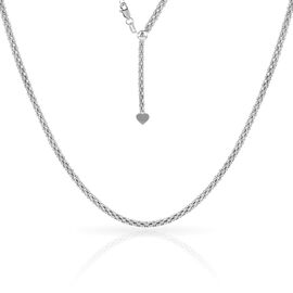 Made In Italy- Sterling Silver Adjustable Snake Necklace (Size 24), Silver wt 8.88 Gms