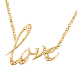 RACHEL GALLEY Yellow Gold Overlay Sterling Silver Lattice Love Necklace (Size 16 with 2 inch Extende