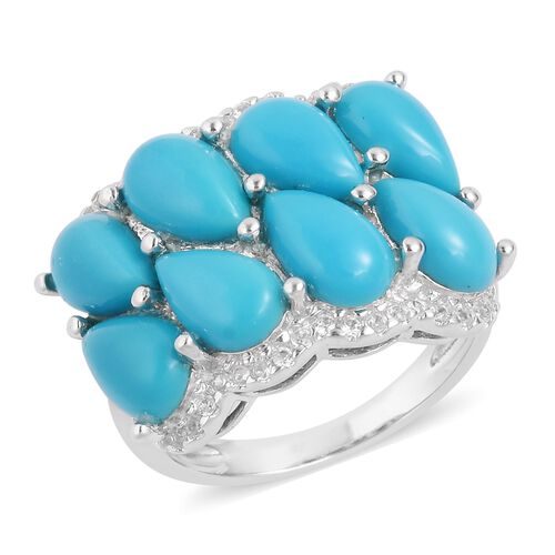 Arizona Sleeping Beauty Turquoise (Pear), Natural White Cambodian Zircon Ring in Sterling Silver 5.4