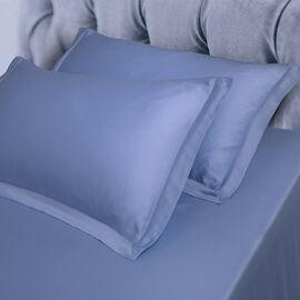 Vegan Silk Set of 2 Oxford Pillowcases in Colour Blue (Size 50x75 cm)