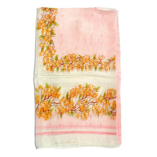 100% Mulberry Silk Yellow and Multi Colour Floral Pattern White Colour Scarf (Size 180x100 Cm)