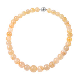 Extremely Rare Size Yellow Quartz(Rnd 11mm-19mm) Necklace (Size 20) in Rhodium Overlay Sterling Silv