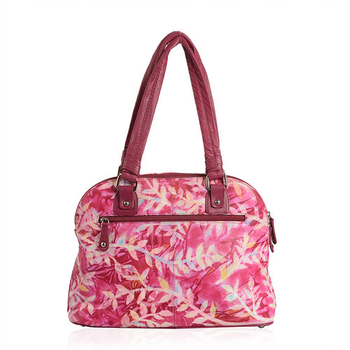 SUKRITI 100% Genuine Leather Coral Colour Handprinted Weekend Bag (Size 36x26.50x13.15 Cm)
