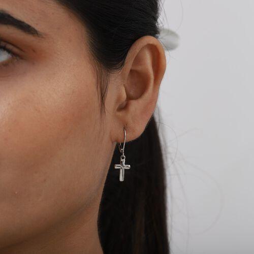 RHAPSODY 950 Platinum Cross Lever Back Earrings