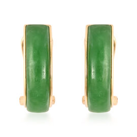 9.50 Ct Green Jade J Hoop Earrings in Gold Plated Sterling Silver