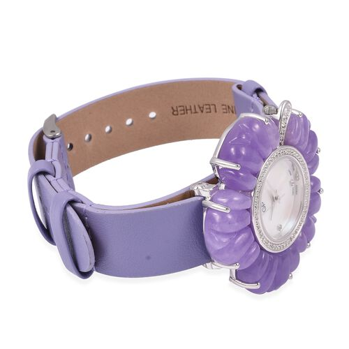 GP Swiss Movement Water Resistant Carved Purple Jade and Simulated Diamond Sterling Silver Watch with Extra Black Strap 65.00 Ct, Metal wt 24.00 Gms.