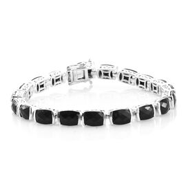 Black Tourmaline (Cush) Bracelet (Size 7.25) in Platinum Overlay Sterling Silver 30.750 Ct.