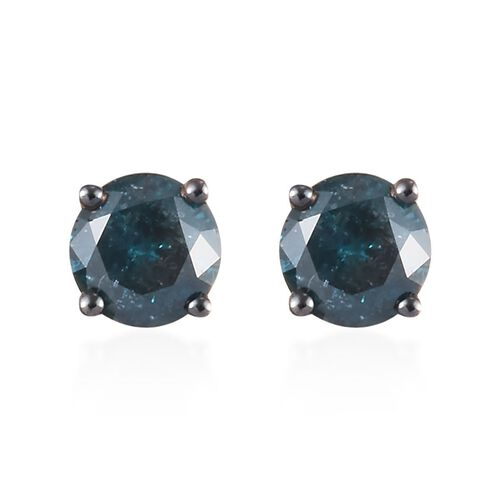 9K Yellow Gold Blue Diamond (Rnd) Stud Earrings (with Push Back) 1.00 Ct.