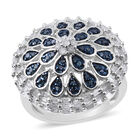 Blue and White Diamond (Rnd and Bgt) Ring (Size O) in Platinum Overlay Sterling Silver 1.255 Ct, Silver wt 6.