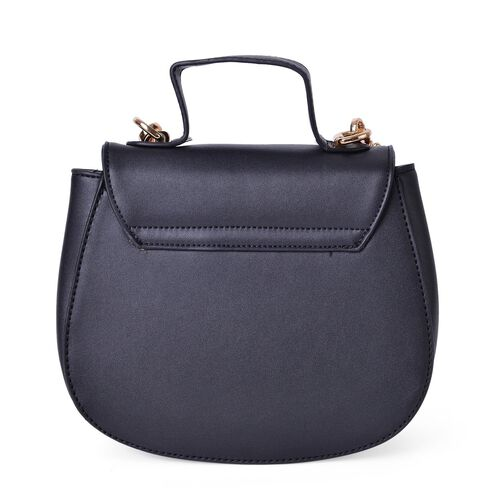 Black Colour Lipstick Design Lock Crossbody Bag with Removable Chain Strap (Size 20X17X8.5 Cm)