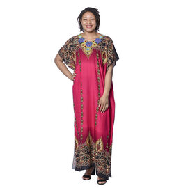 Jovie Pink Bohemian Style Printed Long Dress with Embroidered Neckline (138x78cm)