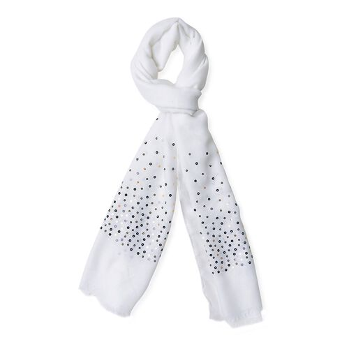 Black and Golden Sequins Embellished White Colour Scarf with Fringes (Size 180X70 Cm)