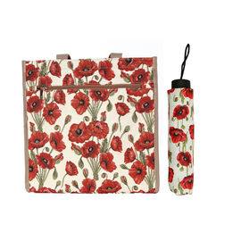 SIGNARE - 2 Piece Set Tapestry Shopping Bag with Matching Umbrella in Poppy Design (Bag: 30 x 30x 14