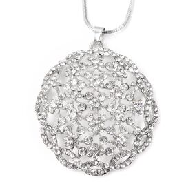White Austrian Crystal (Rnd) Pendant with Chain (Size 24 with 2 inch Extender) in Silver Tone
