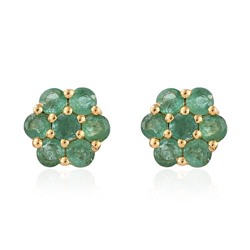 Kagem Zambian Emerald (Rnd) Stud Earrings (with Push Back) in 14K Gold Overlay Sterling Silver 1.500 Ct.