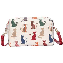 Signare Tapestry - Cheeky Cat Design Crossbody Bag in Beige (Size 20x13x7cm)
