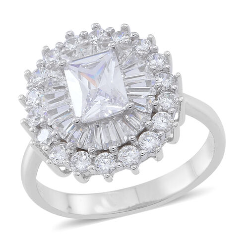 ELANZA Simulated White Diamond (Oct) Ring in Rhodium Plated Sterling Silver, Silver wt 5.60 Gms.
