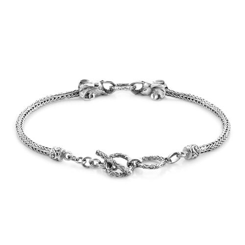 Royal Bali Collection - Sterling Silver Elephant Head Tulang Naga Toggle Bar Bracelet (Size 7.5 with Extender), Silver wt 11.61 Gms