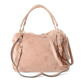 Camel Colour Faux Fur Tote Bag with Removable Shoulder Strap (Size 34x27x11 Cm)